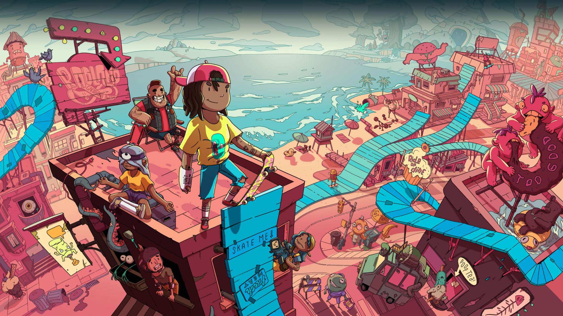 Varios personajes en lo alto de una rampa de skate alta con un pueblo debajo.