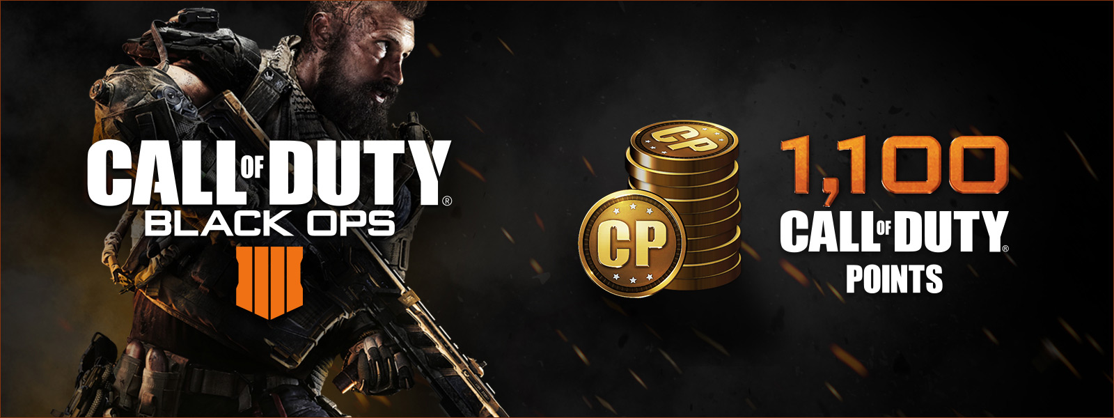 Call of Duty: Logotipo de -Black Ops 4 al lado de monedas con las letras CP escritas que representan 1100 puntos de Call of Duty