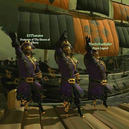 A screenshot from Sea of Thieves featuring three pirates standing in front of a ship, submitted by 'DavidShields'