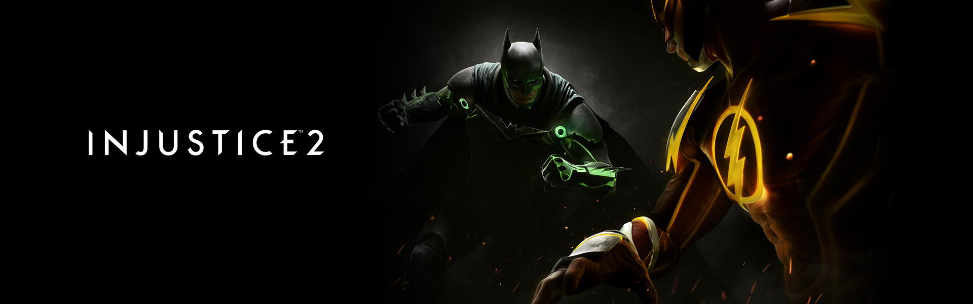Injustice 2, dark image of Batman and The Flash squaring up to fight each other