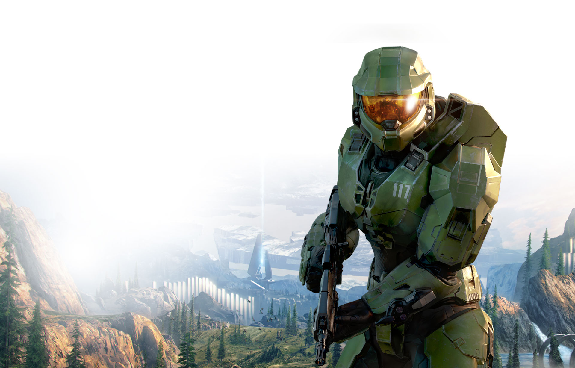 Master Chief with Halo in the background