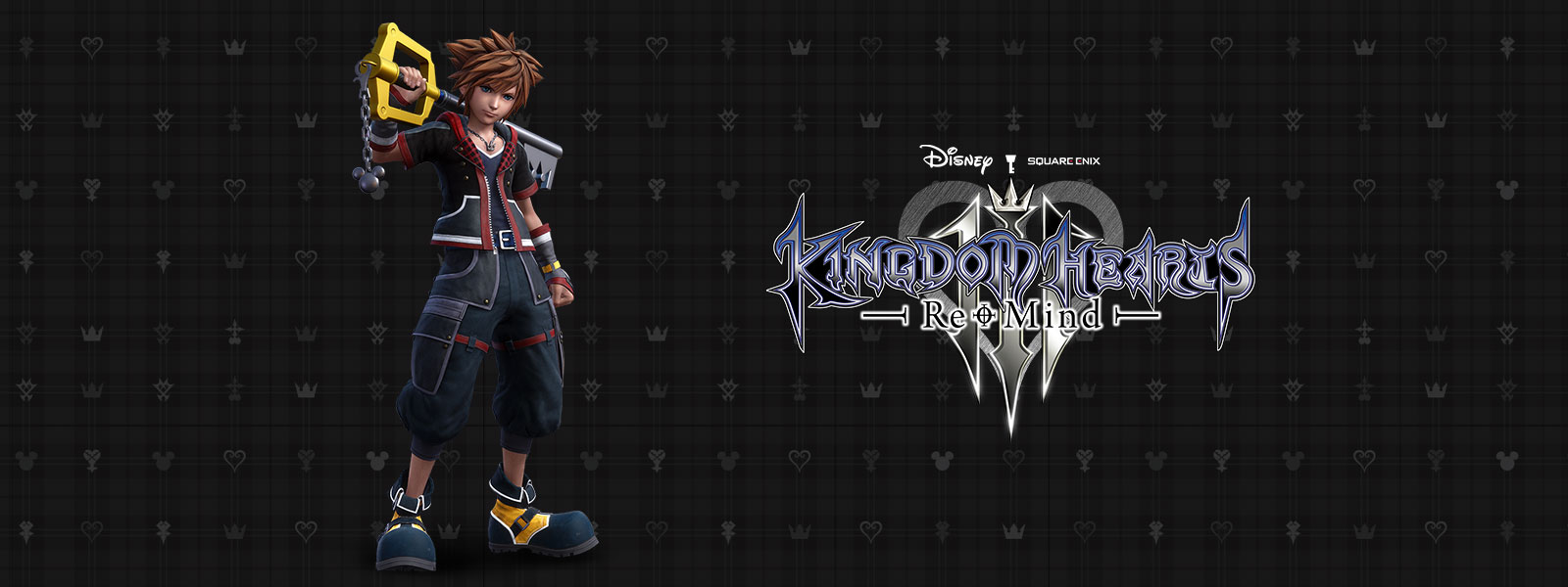 Disney Kingdom Hearts 3, Re-Mind, Sora stands against a black patterned background with the Keyblade rested on his shoulder.