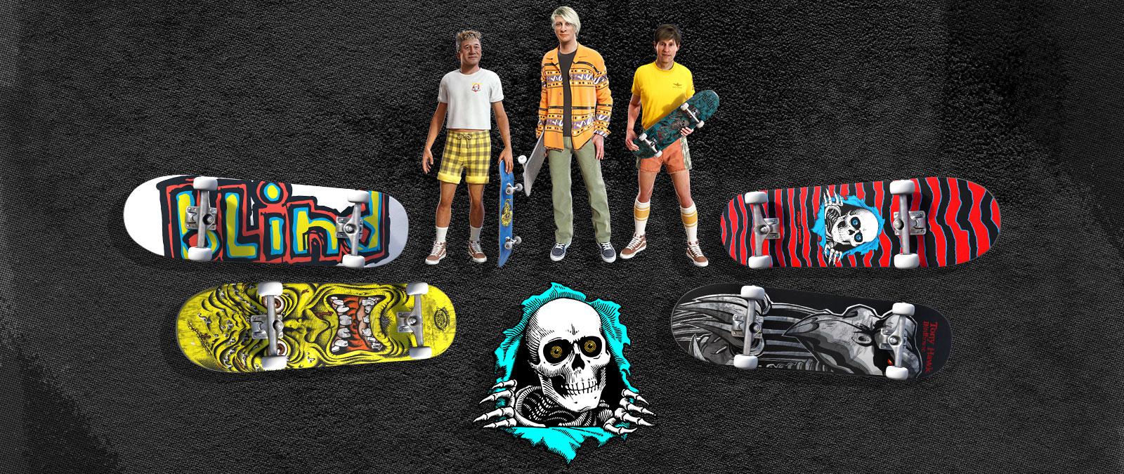Un conjunto de aspectos de personajes y skates, incluyendo atuendos de los 80 y diseños de tablas retro. Un esqueleto desgarra el fondo y lo atraviesa.