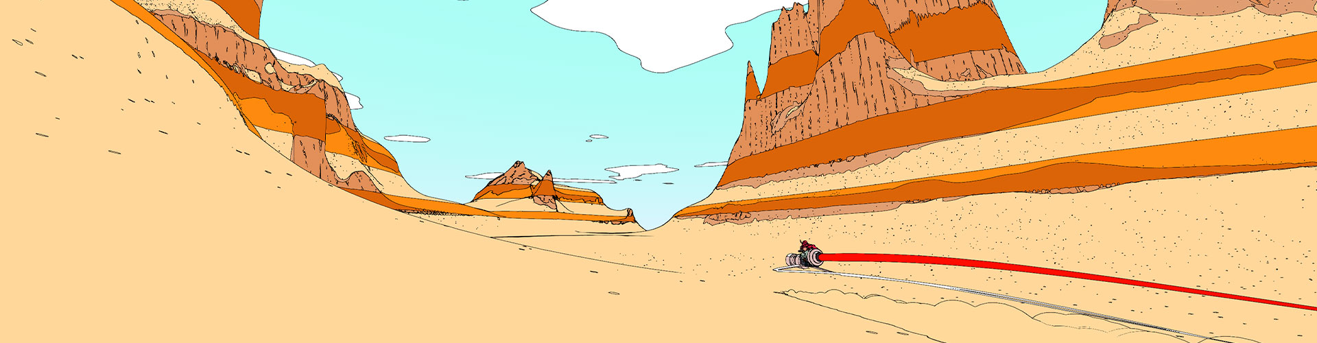 Sable on a hoverbike going through a canyon