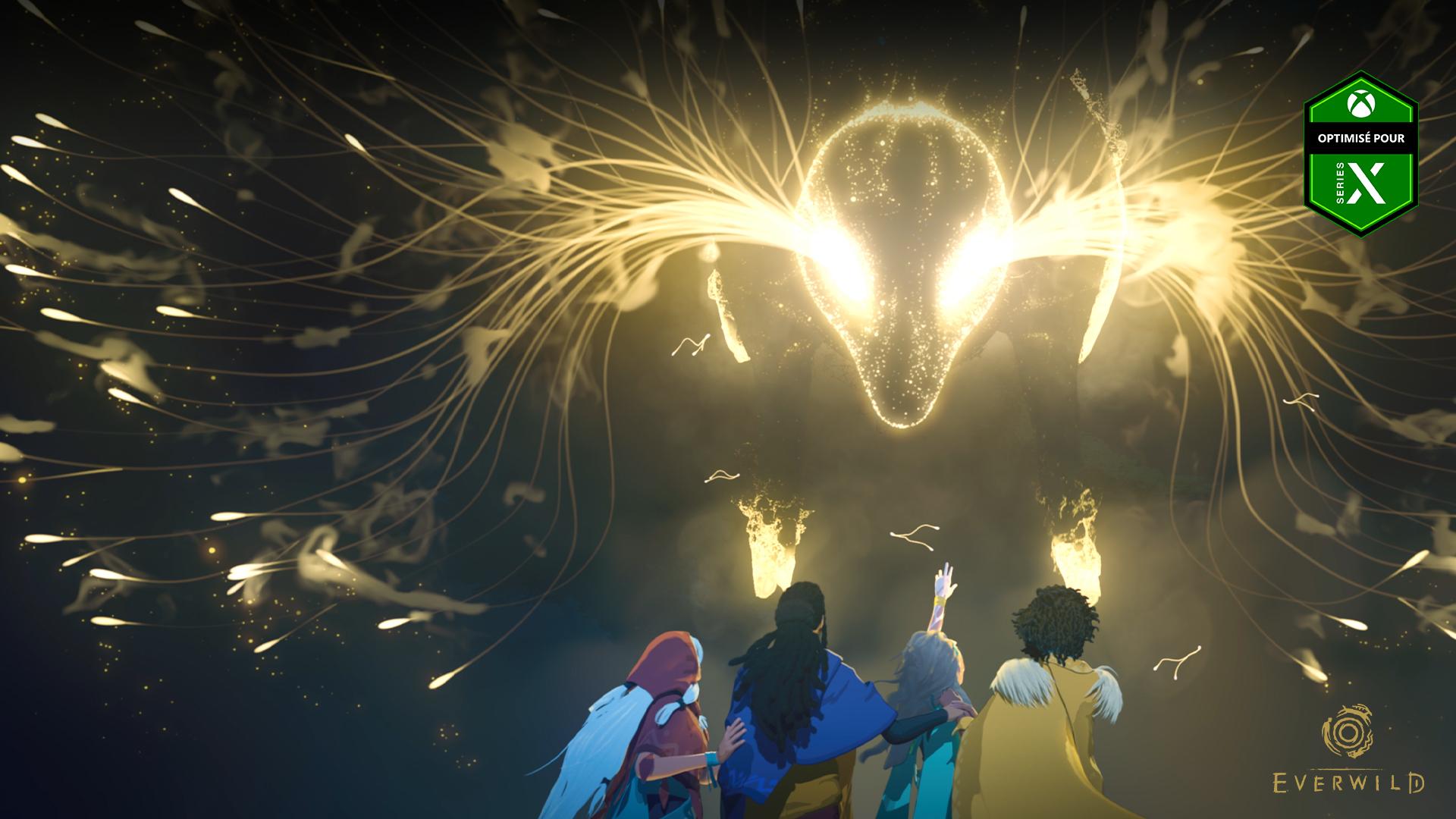 Dans Everwild, optimisé pour Series X, un groupe de personnages se tient sous une tête de cerf constituée d'éclairs lumineux.