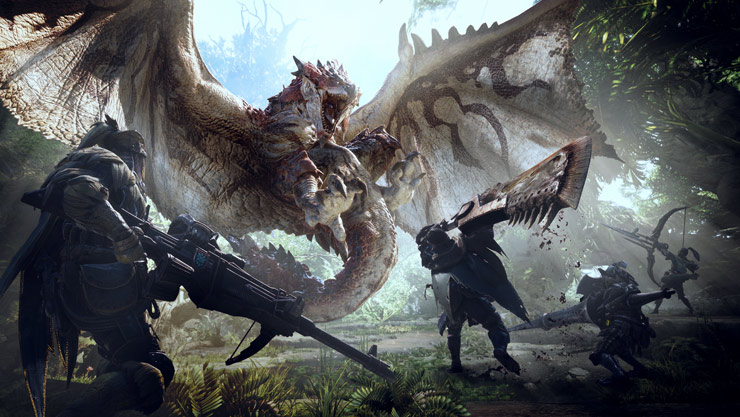 Dragão atacando guerreiros de Monster Hunter World