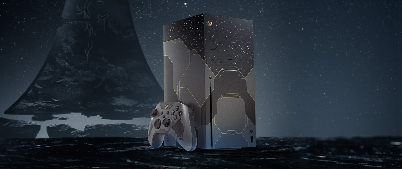 Right angle of the Xbox Series X Halo infinite console and controller with a Halo ring in the background