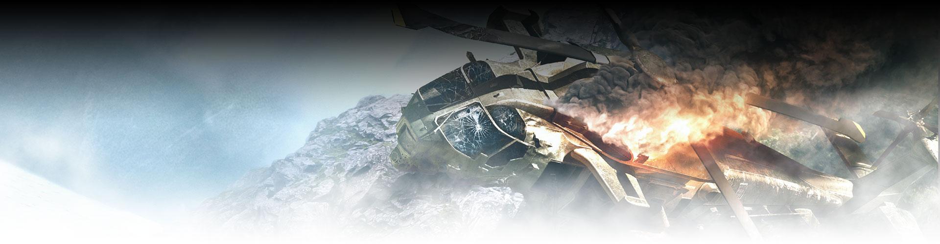 Helicóptero destruído nas montanhas