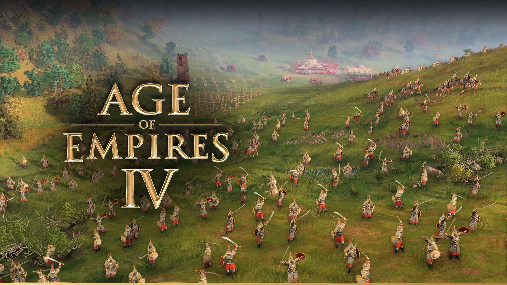 Age of Empires IV, an army of soldiers with swords and shields in full armour in a grassy valley