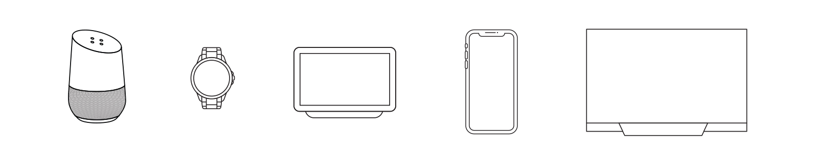 Line drawings of a Google Home device, smart watch, Google Home display, mobile device and a TV.