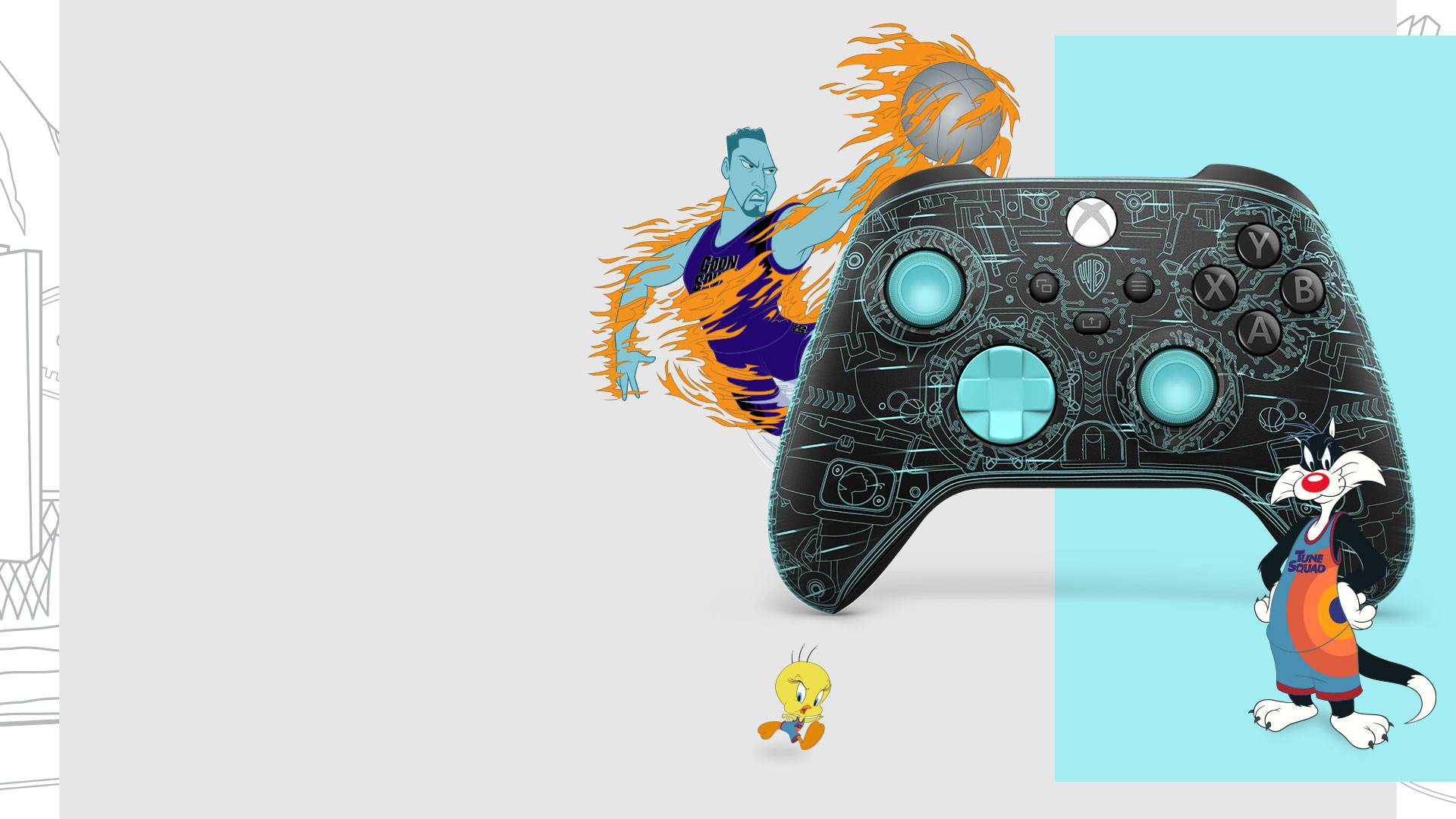 Tweety bird, Sylvester, and Wet fire with the Space Jam: A New Legacy Serververse Exclusive Xbox Controller