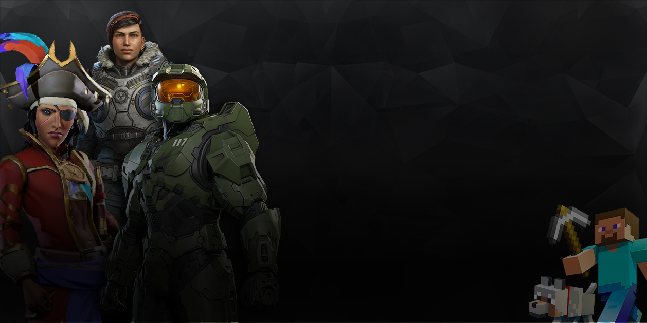 Characters from Gears 5, Halo, Sea of Thieves, and Minecraft
