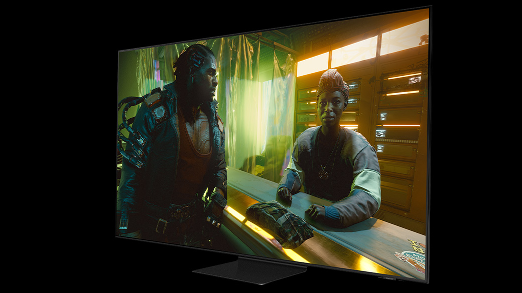 A Samsung TV that has the game Cyberpunk featured on-screen.
