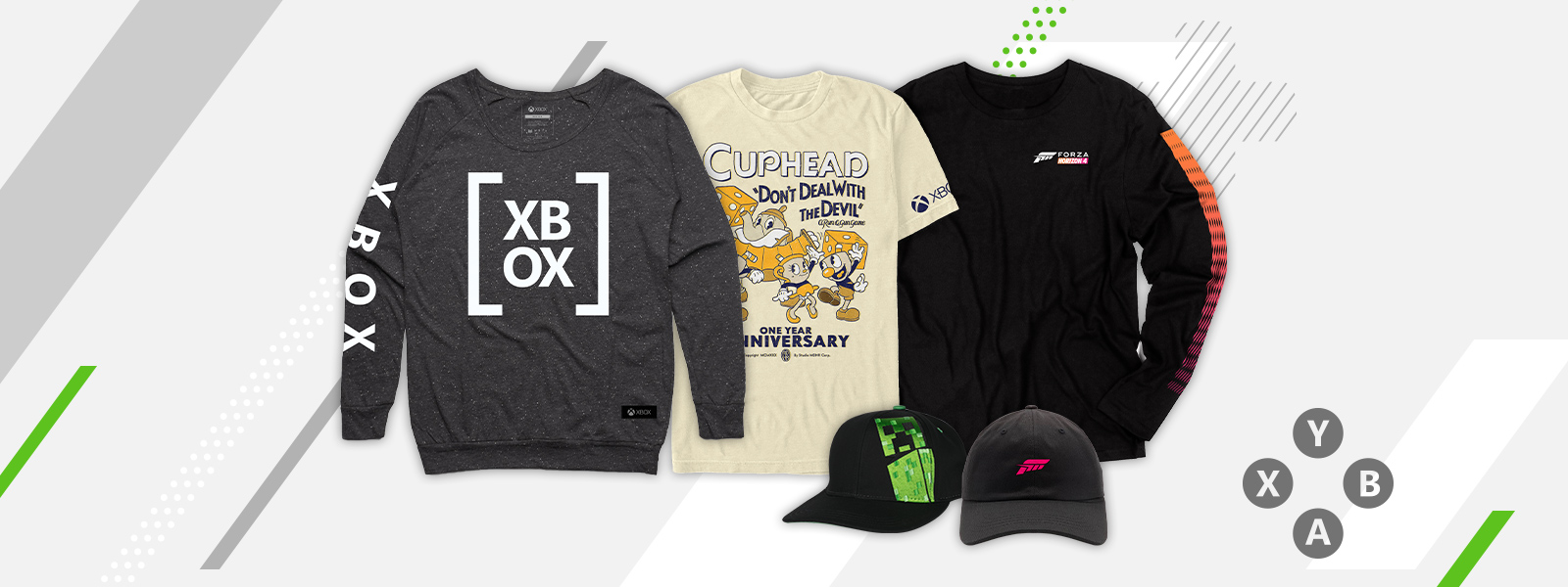 A selection of Xbox Official Gear on sale, including a sweatshirt with Xbox logo, Cuphead and Forza Horizon 4 t-shirts, and ball caps with Minecraft and Forza logos.