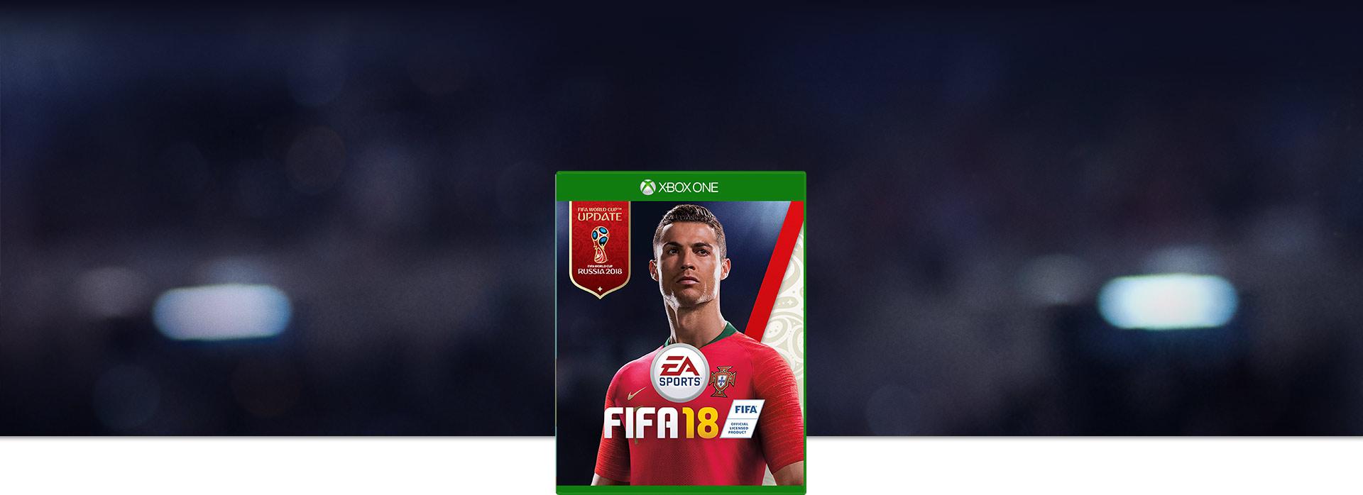 Imagem da caixa do FIFA 18, Ronaldo em um kit de Portugal da Copa do Mundo