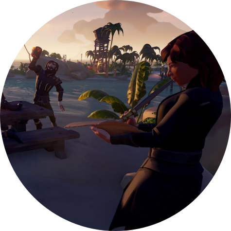Sea of Thieves. Two pirates enjoy a rest on an island outpost.