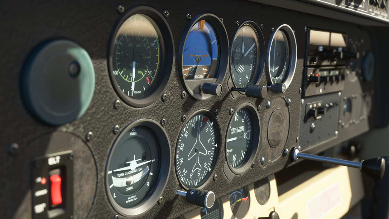 Controls of a plane from Microsoft Flight Simulator