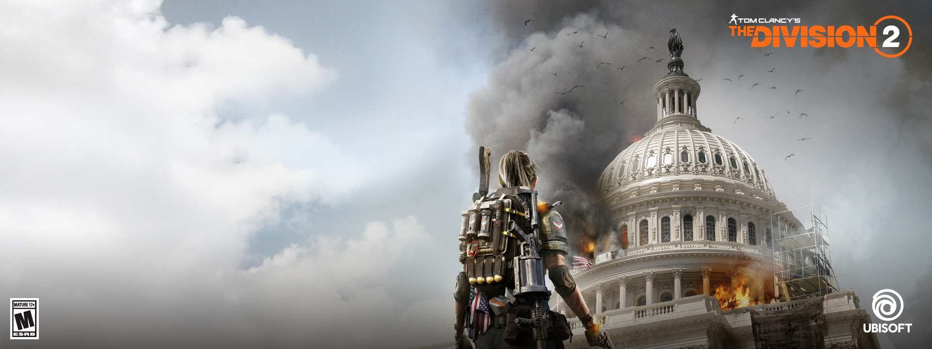 An agent looking at a burning Capitol Building in Washington D.C.