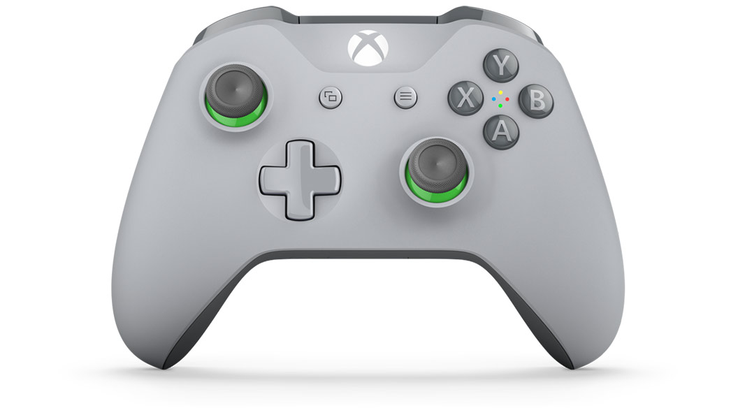 Front tilt view of Grey/Green Controller