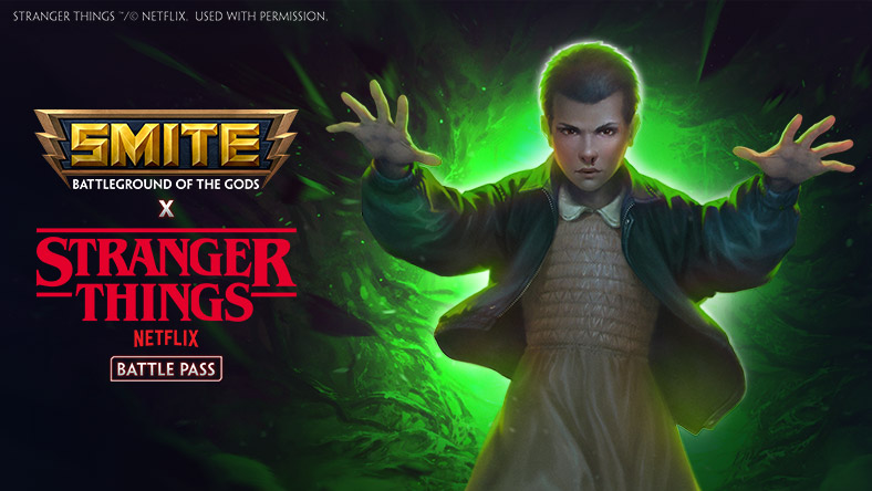 SMITE x Stranger Things, Eleven with green glow behind her with SMITE and Stranger Things Logos