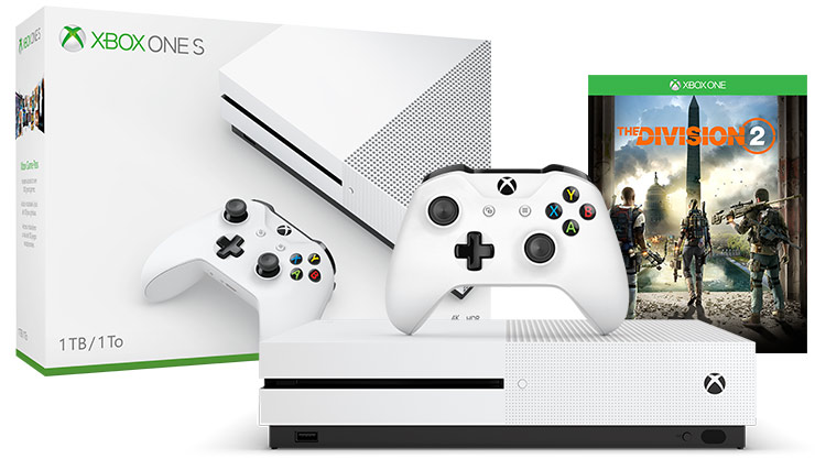 box and console shot of Xbox One S Division 2 Bundle (1TB)