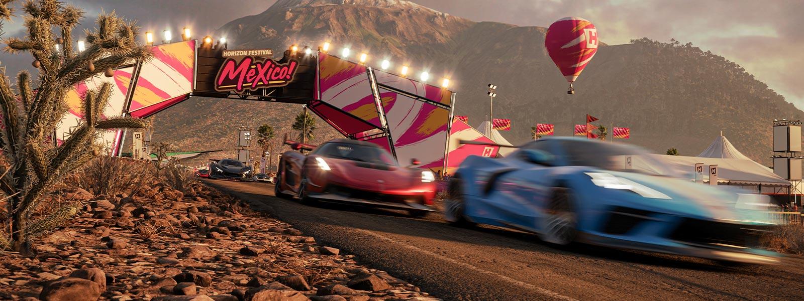 Three cars racing on the Mexico Forza Horizon 5 track