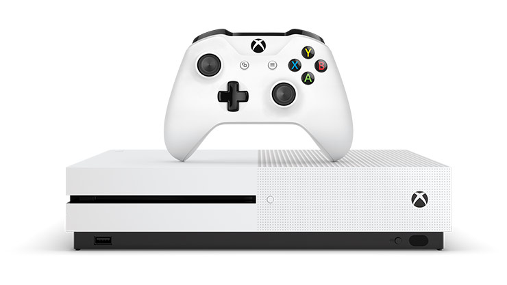 Front view of Xbox One S console and controller