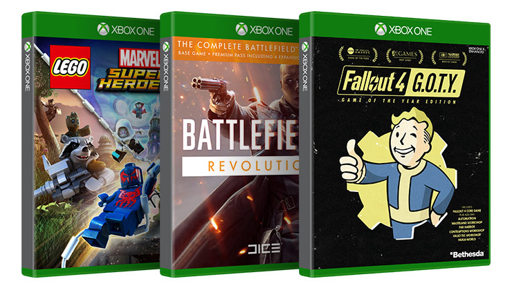 Disc cases of LEGO Marvel Super Heroes Battlefield 1 Revolution Fallout 4 game of the year edition boxshots
