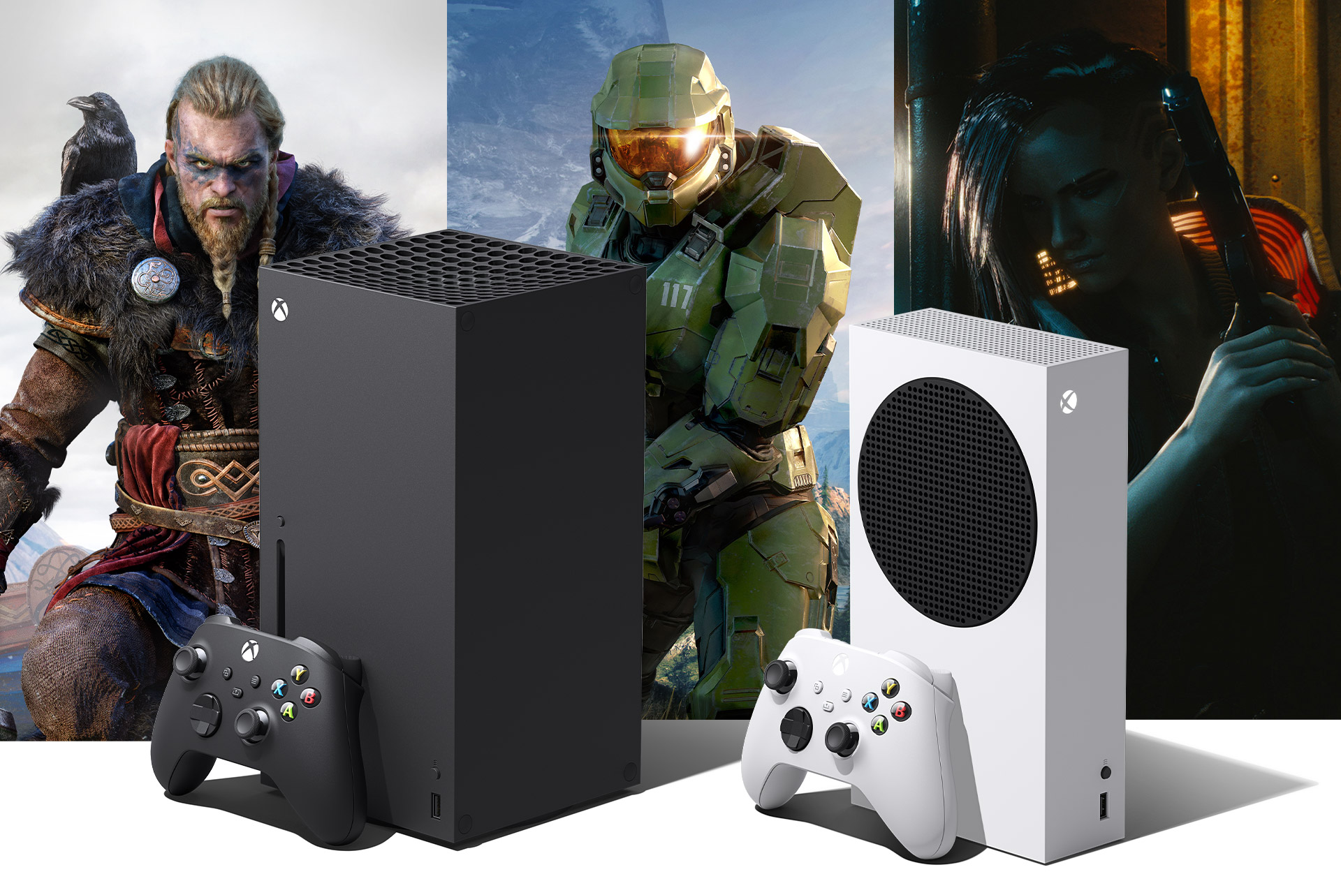 Xbox Series X and Xbox Series S with Assassins Creed Valhalla, Halo Infinite, and Cyberpunk 2077 game art