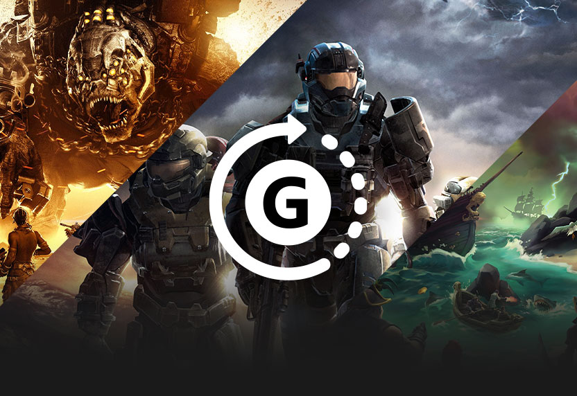 The Gamerscore icon over key art for Halo Reach, Gears Tactics, and Sea of Thieves, all greyed out.