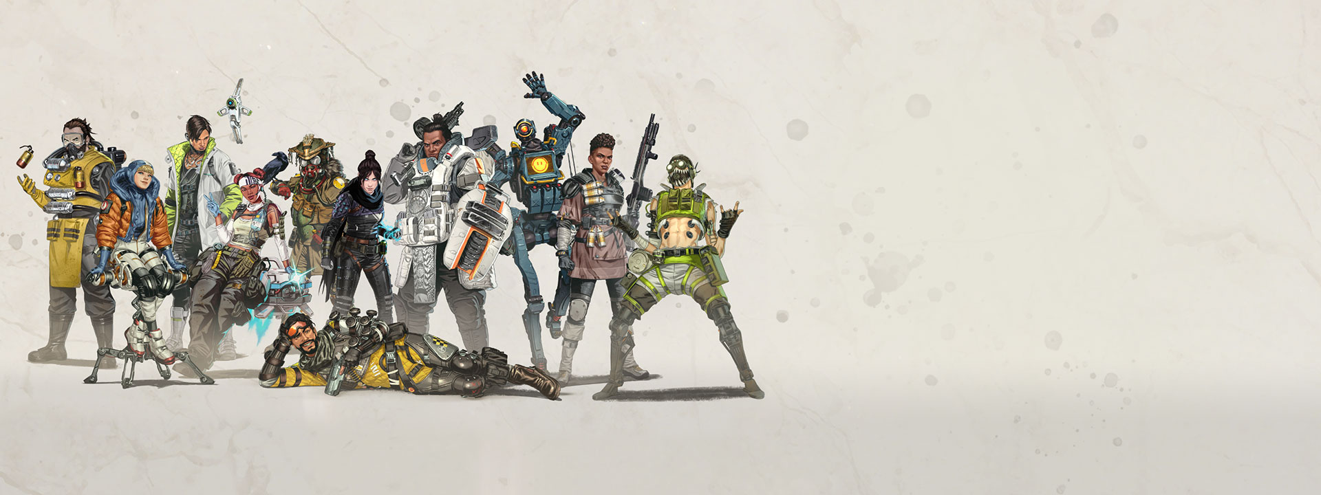 Several Apex Legends characters standing and posing