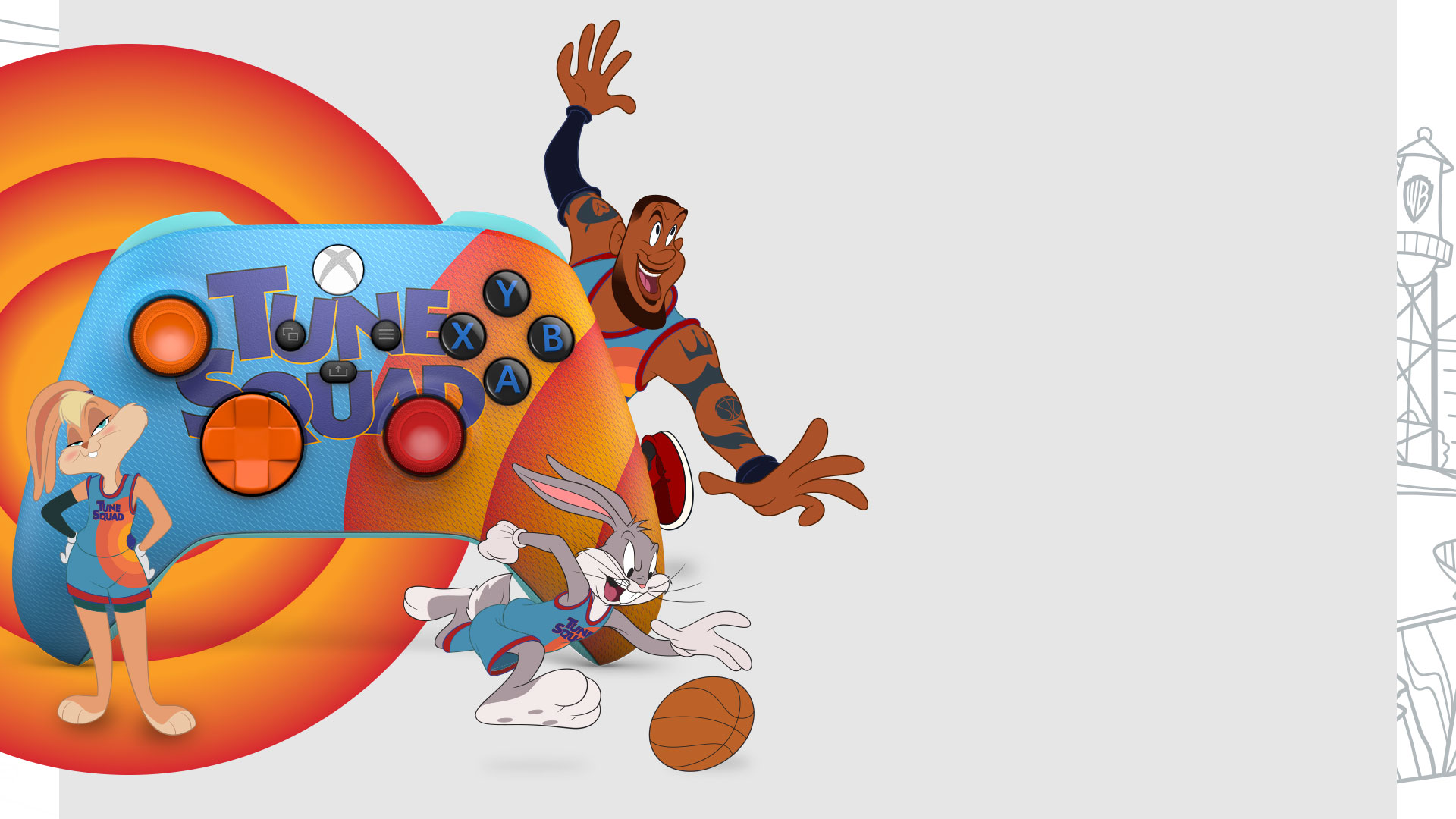 Lebron James, Luna and Bugs bunny next to the Space Jam: A New Legacy Tune Squad Exclusive Xbox Controller