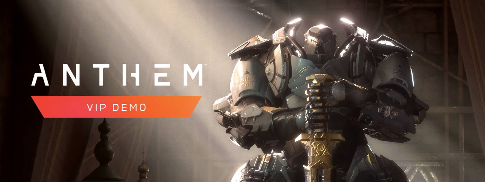 Anthem VIP Demo, A large person in a javelin suit holds a sword and stands stoically