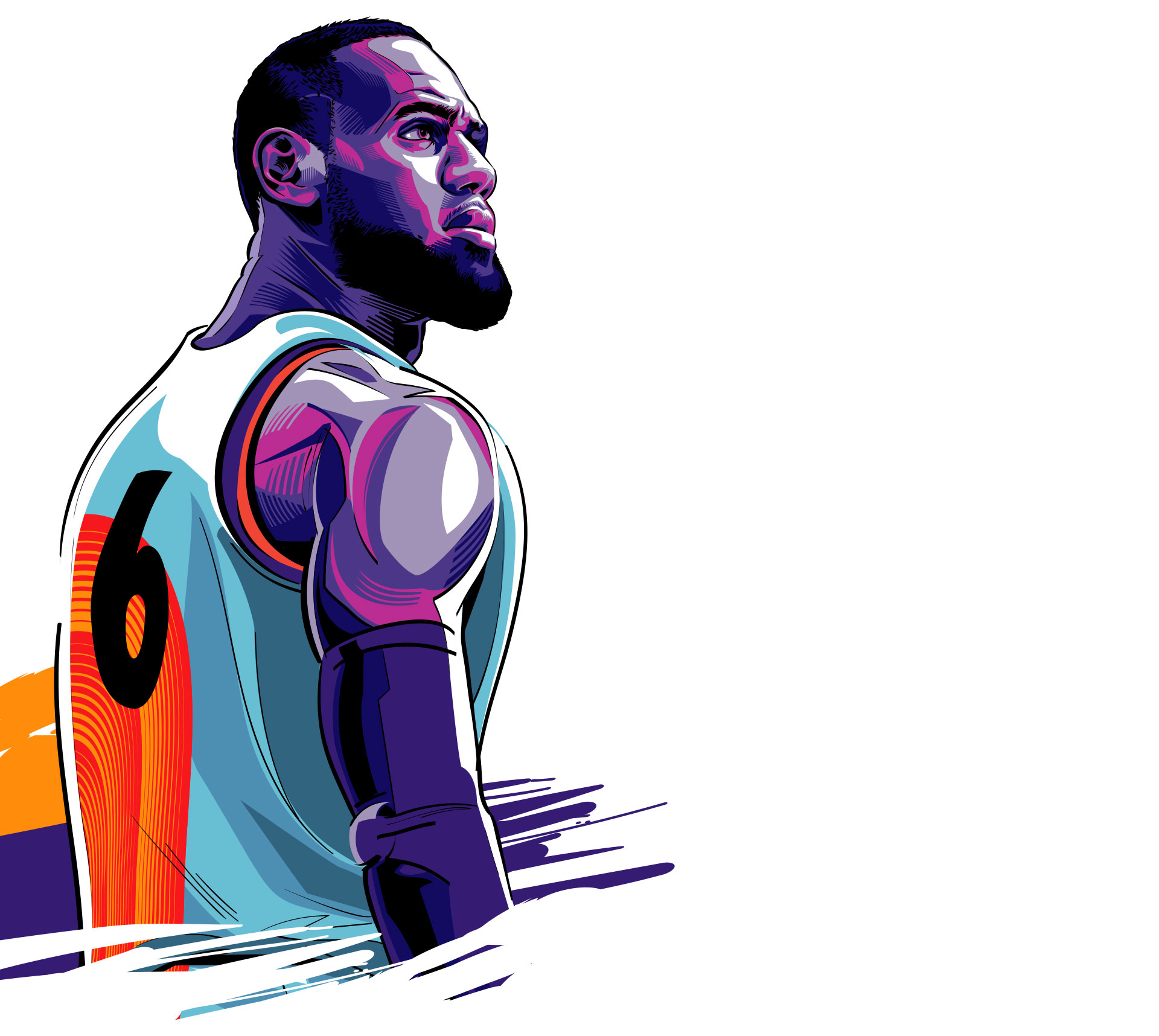 Illustration of Lebron James in a Basketball jersey