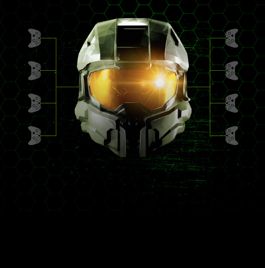 Halo Master Chief helmet with Xbox game controllers on the sides