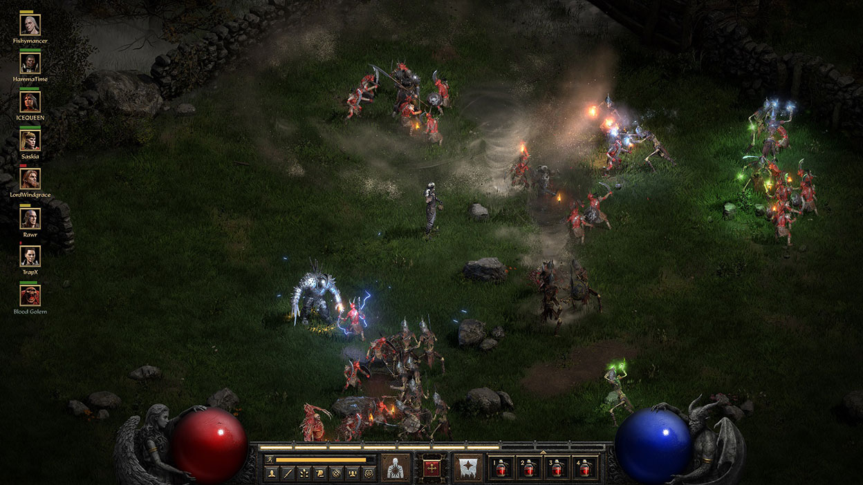 De nombreuses créatures invoquées combattent des démons autour d'un héros Nécromancien.