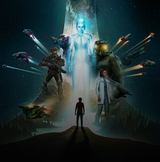 Halo: Outpost Discovery artwork showing characters from the Halo universe