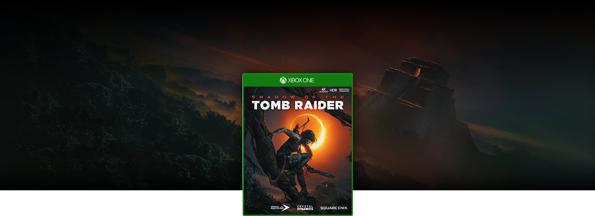 Imagen de la caja de Shadow of the Tomb Raider, templo tropical en el fondo
