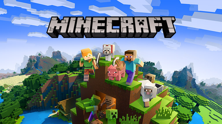 Minecraft XBOX ONE Edition, Minecraft characters and animals standing on a hillside in a minecraft landscape scene