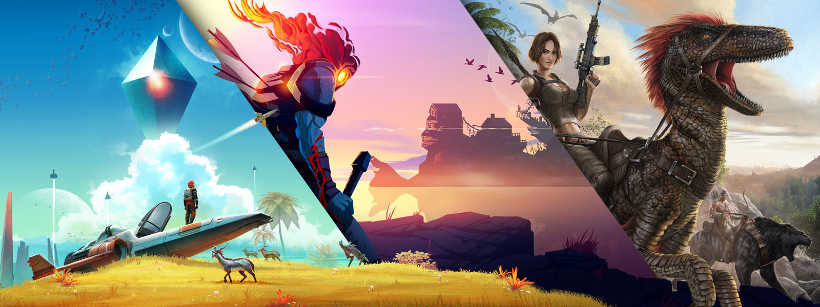 A collage of artwork and characters from ID at Xbox games on sale. No Man's Sky, Dead Cells, Ark: Survival Evolved