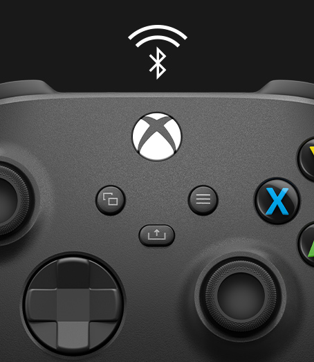 Close-up of the front of a controller with a Bluetooth symbol above it