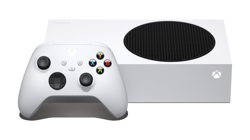 A white Xbox Series S with matching controller