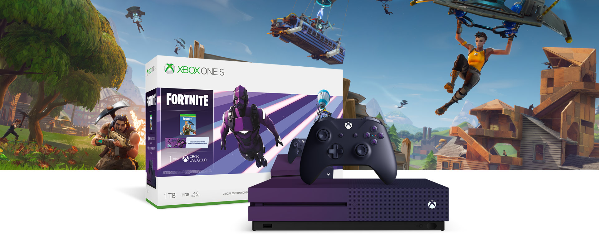 Gradient purple Xbox One S console in front of a hardware bundle box featuring Fortnite Battle Royale art