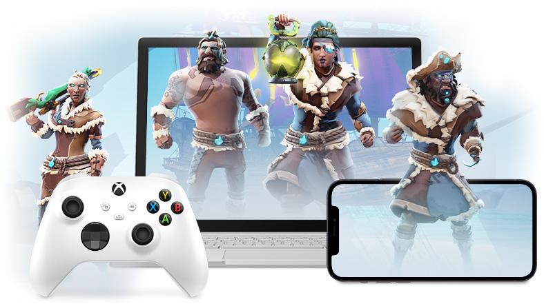 Piraci z Sea of Thieves wyłaniają się z ekranów urządzenia Surface Book i telefonu komórkowego Apple. Kontroler bezprzewodowy do konsoli Xbox znajduje się przed urządzeniem Surface Book.