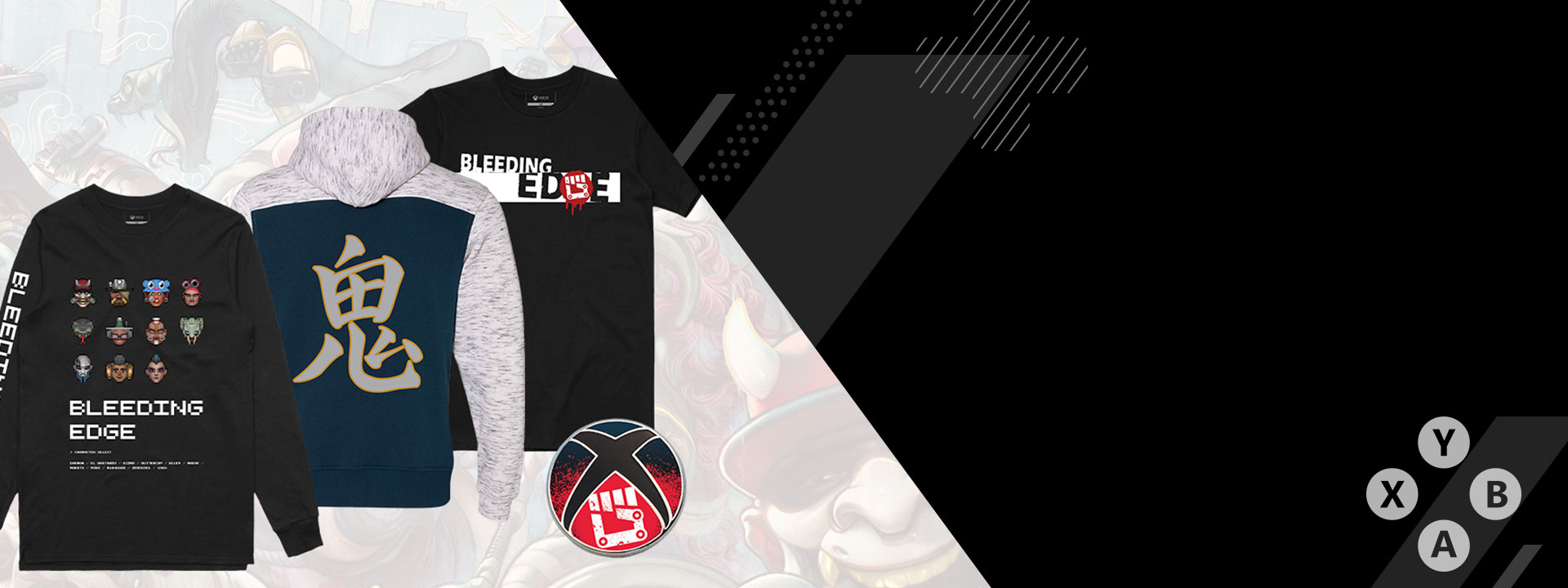 Bleeding Edge themed shirts and hoodies on a background of Bleeding Edge characters