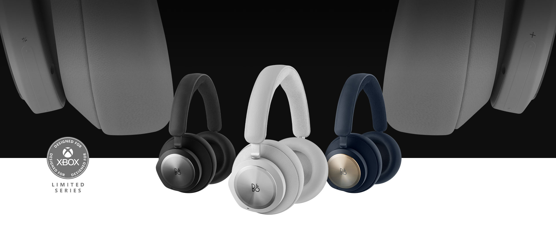 Band and Olufsen grey headset in front with the black and navy headset beside it