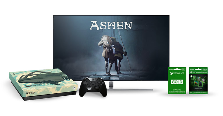TV screen with game cards and custom Ashen console