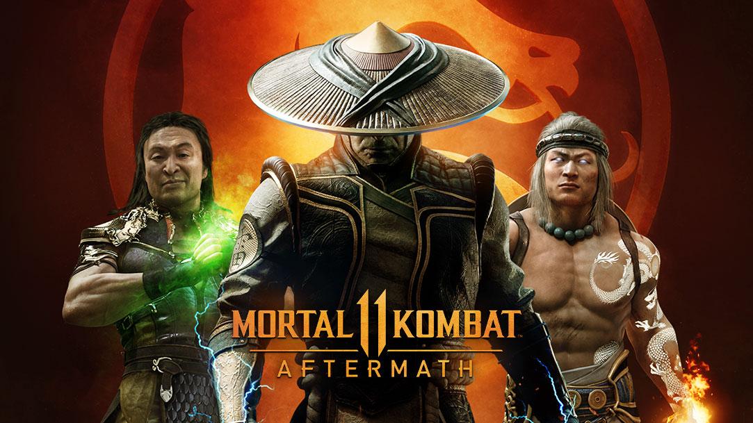 Mortal Kombat11 Aftermath, trois personnages rassemblés devant un logo de dragon allumé.