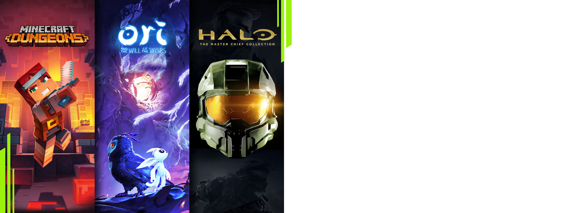 Images and characters from Minecraft Dungeons, Ori and the Will of the Wisps, and Halo: The Master Chief Collection