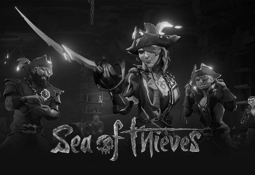Pirate legends do Sea of Thieves, com logotipo do jogo em cinzento..